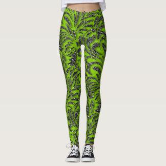 Lime Green Grey Glitter Swash Pattern Leggings
