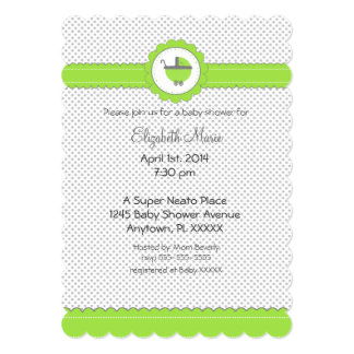 Lime Green & Grey Polka Dots-Baby Shower Card