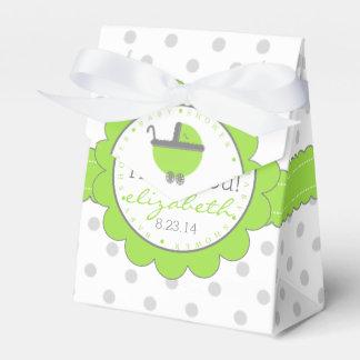 Lime Green & Grey Polka Dots-Baby Shower Favor Box