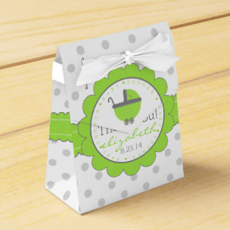 Lime Green & Grey Polka Dots-Baby Shower Wedding Favor Box
