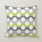 Lime Green Grey White Modern Polka Dot Pattern Throw Pillow