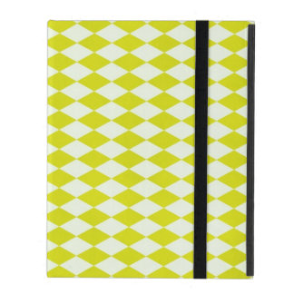 Lime Green Harlequin Argyle Diamond Print Bright iPad Folio Cover