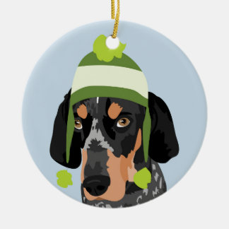 Lime Green Hat Coonhound Ornament