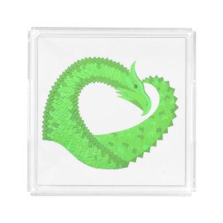 Lime green heart dragon on white acrylic tray