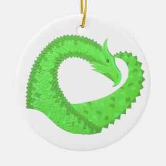 Lime green heart dragon on white ceramic ornament