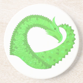Lime green heart dragon on white coaster