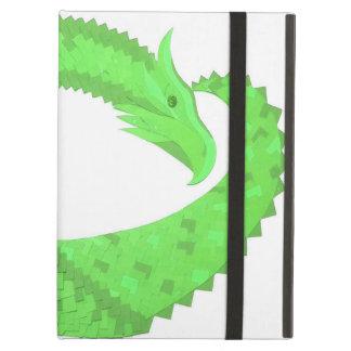 Lime green heart dragon on white iPad air case
