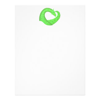 Lime green heart dragon on white letterhead