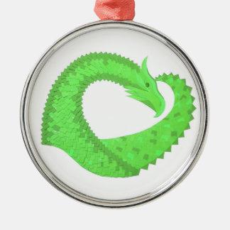 Lime green heart dragon on white metal ornament