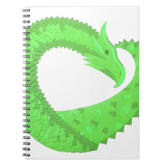 Lime green heart dragon on white notebook
