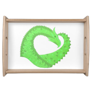 Lime green heart dragon on white serving tray