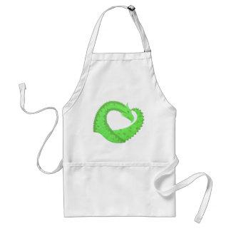 Lime green heart dragon on white standard apron