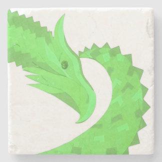 Lime green heart dragon on white stone coaster