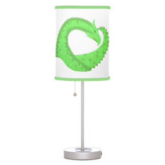 Lime green heart dragon on white table lamp