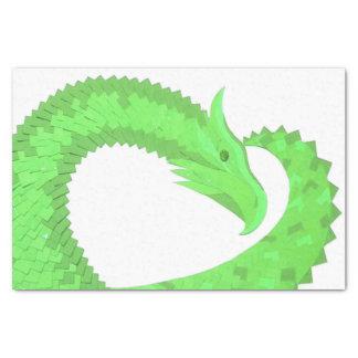 Lime green heart dragon on white tissue paper