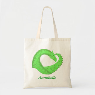 Lime green heart dragon on white tote bag