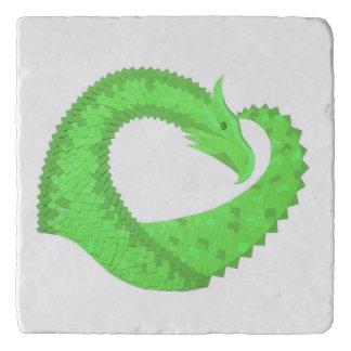 Lime green heart dragon on white trivet