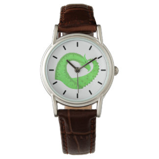Lime green heart dragon on white watch