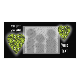 Lime Green Heart. Patterned Heart Design. Picture Card