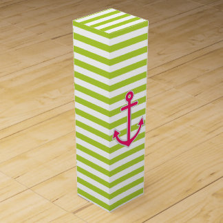Lime Green Hot Pink Anchor Nautical Wine Boxes