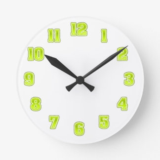 Lime Green in Yellow Clock Template