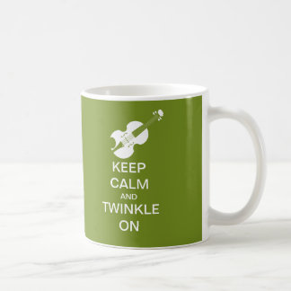 Lime Green Keep Calm Twinkle On Violin Coffee Mug
