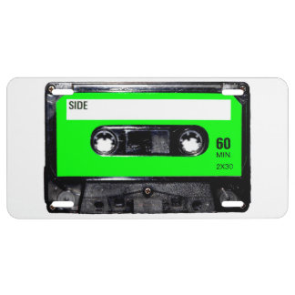 Lime Green Label Cassette License Plate