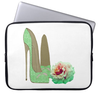 Lime Green Lace Stiletto and Rose Electronic Case