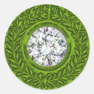 Lime Green Laurel Wreath and Diamond Envelope Seal