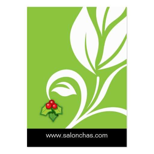 Lime green Leaf Salon Spa Gift Card Xmas Large Business Card