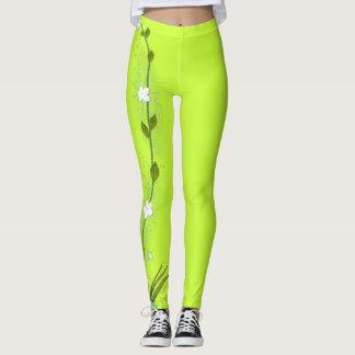 Lime Green Leggings with Vining Flower on One Leg