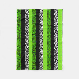 Lime Green Leopard and Zebra Animal Print Fleece Blanket
