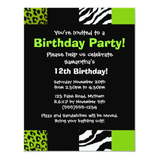 "Lime Green Leopard and Zebra Animal Print Party 4.25"" X 5.5"" Invitation Card"