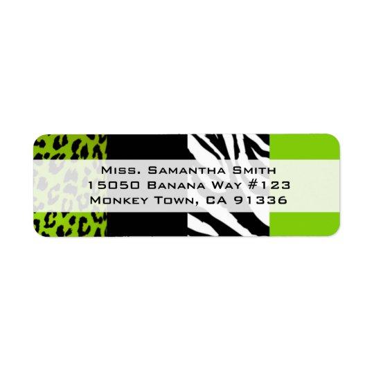 Lime Green Leopard and Zebra Animal Print Return