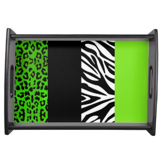 Lime Green Leopard and Zebra Animal Print Service Tray
