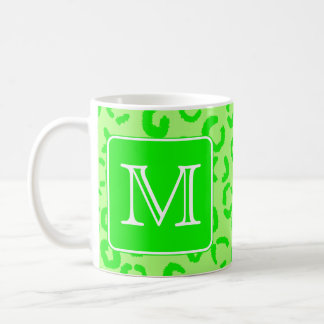 Lime Green Leopard Print Custom Monogram. Coffee Mug