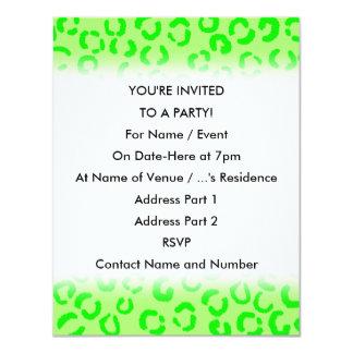 """Lime Green Leopard Print Pattern. 4.25"""" X 5.5"""" Invitation Card"""