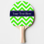 Lime Green LG Chevron Navy Blue Name Monogram Ping Pong Paddle
