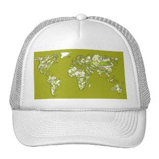 Lime green maps trucker hat