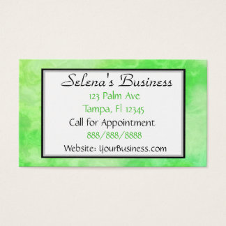 Lime Green  Marble Classy Business Card