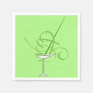 Lime Green Martini Cocktail Glass Napkins
