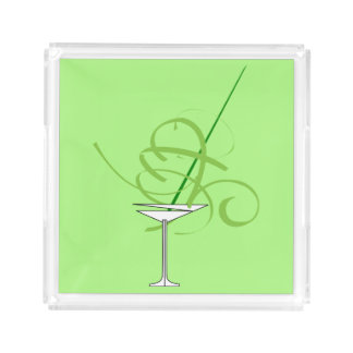 Lime Green Martini Cocktail Glass Serving Tray