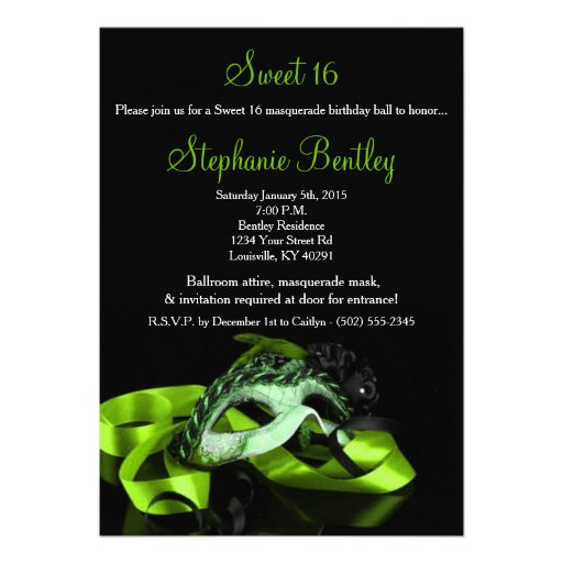 Lime Green Masquerade Sweet 16 Birthday Invitation
