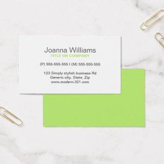 Lime green modern generic simple elegant personal business card