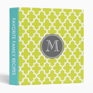 Lime Green Modern Moroccan Pattern Custom Monogram 3 Ring Binders