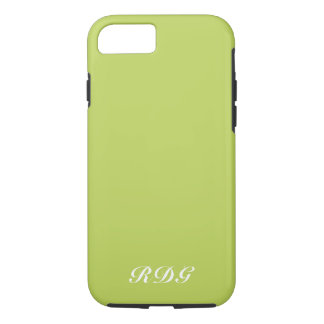 Lime Green Modern Professional With White Monogram iPhone 8/7 Case