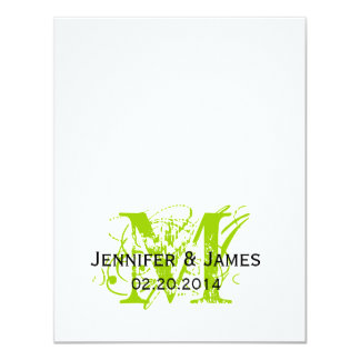 """Lime Green Monogram Names Wedding Reply Cards 4.25"""" X 5.5"""" Invitation Card"""