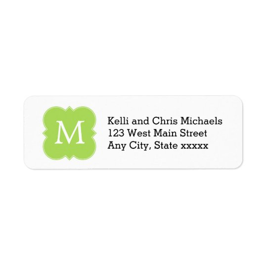 Lime Green Monogram Return Address Labels