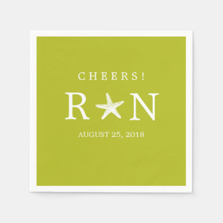Lime Green Monogram Starfish | Wedding Disposable Napkins