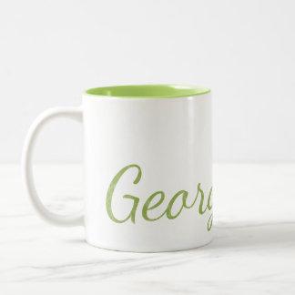 Lime Green Monogrammed Textured Name Two-Tone Coffee Mug